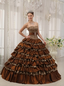 Modest Brown Sweet 16 Dress Sweetheart Taffeta and Leopard Ruffles Ball Gown