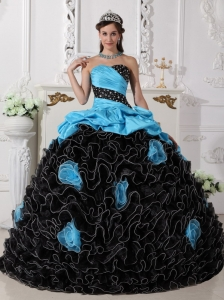 Populor Blue and Black Sweet 16 Dress Sweetheart Organza Beading and Rolling Flowers Ball Gown