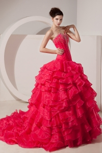 Unique Coral Red / Princess Prom Dress Sweetheart Brush Train Taffeta Beading