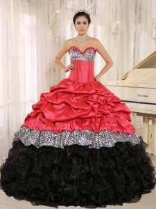 Watermelon and Black Sweetheart Ruffles Zebra Sweet 16 Dress With Floor-length