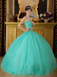 Turquoise Organza Beading Strapless Floor-length Sweet 16 Dress ...