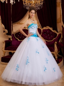 Best White Sweet 16 Dress Sweetheart Tulle Appliques / Princess