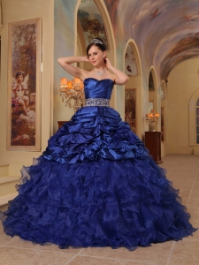 Brand New Blue Sweet 16 Dress Sweetheart Organza and Taffeta Beading Ball Gown