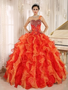 Custom Made Orange Red One Shoulder Beaded Decorate Ruffles Mendoza Sweet 16 Dress In Spring