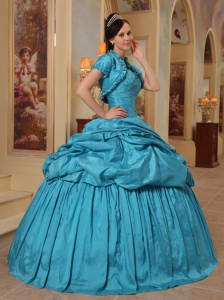 Elegant Teal Sweet 16 Quinceanera Dress Sweetheart Taffeta Beading Ball Gown
