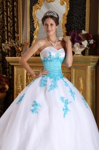 White and Blue Sweetheart Appliques Organza Sweet 16 ...