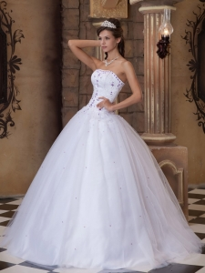 Romantic White Sweet 16 Dress Strapless Satin and Tulle Embroidery Ball Gown