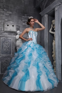 Sweet White and Sky Blue Sweet 16 Dress Sweetheart Taffeta and Organza Appliques Ball Gown