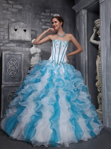 Sweetheart Appliques White And Blue Sweet 16 Quinceanera ...