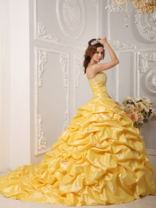 Appliques And Beading Bodice Pick Ups Yellow Sweet 16