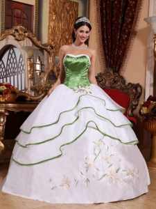 Cheap Spring Green and White Sweet 16 Dress Strapless Organza Embroidery Ball Gown