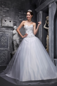 Lovely White Sweet 16 Dress Sweetheart Taffeta and Tulle Beading A-Line / Princess