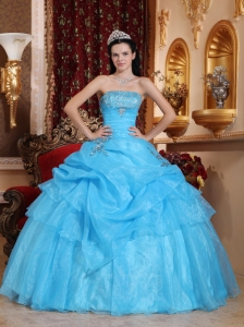 Chic Aqua Blue Sweet 16 Quinceanera Dress Strapless Organza Beading Ball Gown