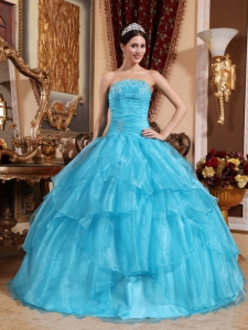 Impression Aqua Blue Sweet 16 Dress Strapless Organza Beading Ball Gown