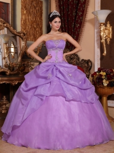 New Lavender Sweet 16 Quinceanera Dress Strapless Organza Beading Ball Gown