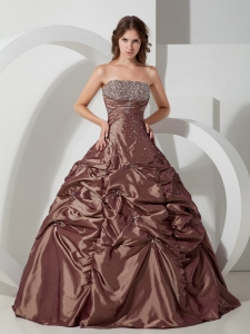 Popular Brown Pick-ups Sweet 16 Quinceanera Dress Strapless Taffeta Beading