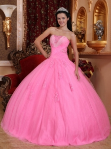 Wonderful Rose Pink Sweet 16 Dress Strapless Tulle Beading Ball Gown
