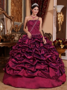 Best Burgundy Sweet 16 Dress One Shoulder Taffeta Pick-ups Ball Gown