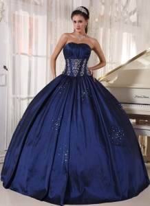 Modest Navy Sweet 16 Dress Strapless Taffeta Embroidery and Beading Ball Gown