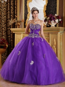 New Purple Sweet 16 Quinceanera Dress Sweetheart Appliques Tulle Ball Gown