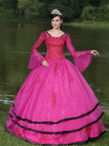 The Most Popular Long Sleeves Appliques Decorate Fushsia Sweet 16 Dress With V-neck