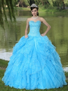 Beaded Ruffles Layered Decorate Famous Designer Sweet 16 Dress With Sweetheart Aqua Skirt
