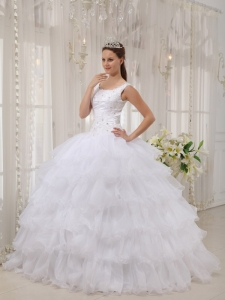 Brand New White Sweet 16 Dress Scoop Satin and Organza Appliques Ball Gown