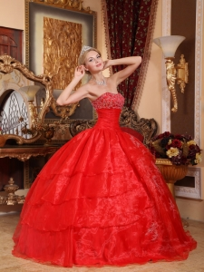 Discount Red Sweet 16 Quinceanera Dress Strapless Organza Appliques Ball Gown