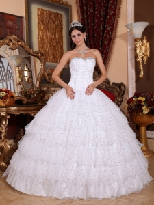 Discount White Sweet 16 Dress Strapless Taffeta and Tulle Beading Ball Gown