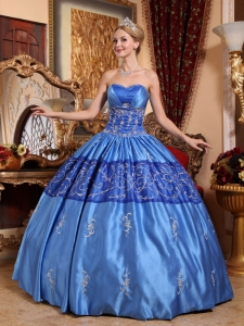 Gorgeous Blue Sweet 16 Dress Sweetheart Taffeta Embroidery Ball Gown