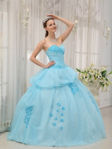 Inexpensive Light Blue Sweet 16 Dress Sweetheart Organza Appliques Ball Gown