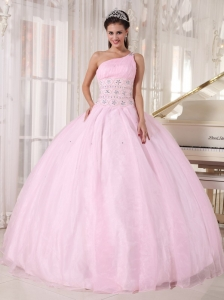 Luxurious Baby Pink Sweet 16 Dress One Shoulder Organza Beading Ball Gown