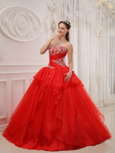 Modest Red Sweet 16 Dress Strapless Taffeta and Organza Appliques Ball Gown