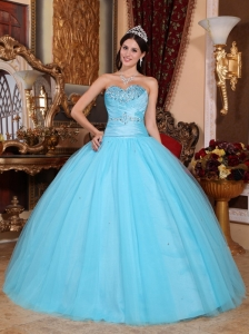 Pretty Baby Blue Sweet 16 Dress Sweetheart Tulle and Taffeta Beading and Ruch Ball Gown