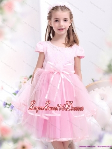 Beautiful Bownot and Appliques 2015 Little Girl Pageant Dresses in Rose Pink