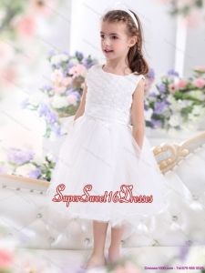 Beautiful Scoop Tea Length White 2015 Beautiful Little Girl Pageant Dress with Sash