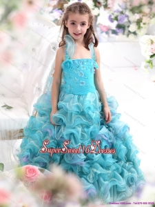 Beautiful Straps Appliques and Ruffled Layers Pageant Dresses for Kids in Aque Blue