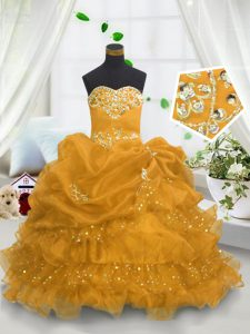 Eye-catching Gold Ball Gowns Beading and Ruffled Layers and Pick Ups Little Girls Pageant Gowns Lace Up Organza Sleeveless Floor Length