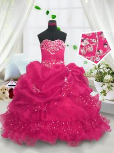Glorious Hot Pink Little Girls Pageant Dress Wholesale Party and Wedding Party with Beading and Ruffled Layers and Pick Ups Sweetheart Sleeveless Lace Up