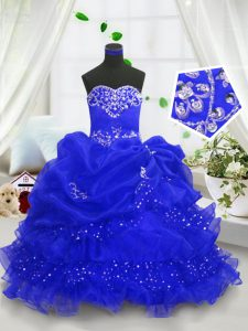 Most Popular Sleeveless Organza Floor Length Lace Up Girls Pageant Dresses in Royal Blue with Beading and Ruffled Layers and Pick Ups