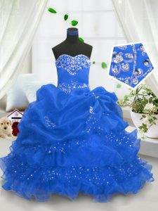 Unique Blue Sweetheart Neckline Beading and Ruffled Layers and Pick Ups Little Girl Pageant Dress Sleeveless Lace Up