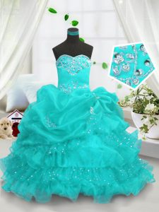 Gorgeous Aqua Blue Ball Gowns Beading and Ruffled Layers and Pick Ups Little Girl Pageant Gowns Lace Up Organza Sleeveless Floor Length