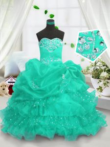 Pick Ups Ruffled Floor Length Ball Gowns Sleeveless Turquoise Little Girls Pageant Gowns Lace Up