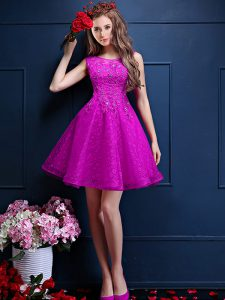 Fuchsia Bateau Neckline Beading and Lace Dama Dress for Quinceanera Sleeveless Lace Up