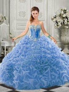 Sleeveless Beading and Ruffles Lace Up 15th Birthday Dress with Light Blue Court Train