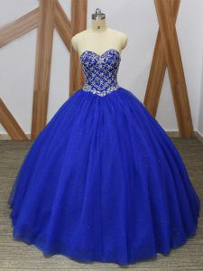 Royal Blue Tulle Lace Up Quinceanera Gown Sleeveless Floor Length Beading