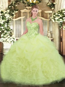 Modest Yellow Green Lace Up Vestidos de Quinceanera Appliques and Ruffles Sleeveless Floor Length