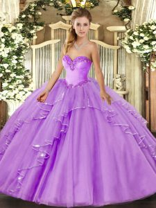 Sweet Sweetheart Sleeveless Ball Gown Prom Dress Floor Length Beading and Ruffles Lavender Tulle
