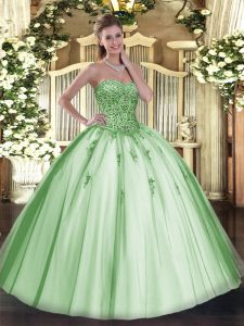 Ideal Sweetheart Sleeveless Sweet 16 Dress Floor Length Beading and Appliques Apple Green Tulle