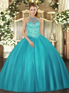 Luxury Halter Top Sleeveless Lace Up 15th Birthday Dress Teal Satin